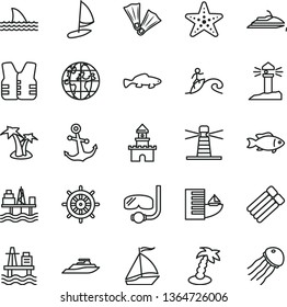 thin line vector icon set - anchor vector, small fish, sea port, commercial seaport, lighthouse, coastal, planet, sand castle, sail boat, hotel, palm tree, starfish, flippers, diving mask, surfing