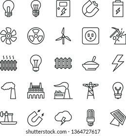 thin line vector icon set - lightning vector, matte light bulb, incandescent lamp, power socket type b, dangers, new radiator, storm cloud, a bowl of buckwheat porridge, marine propeller, windmill