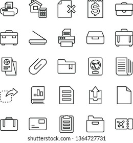 thin line vector icon set - clean sheet of paper vector, upload archive data, folder bookmark, suitcase, estimate, case, pass card, drawer, delete page, clip, move right, portfolio, financial item