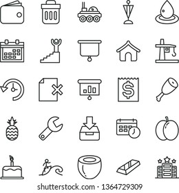 thin line vector icon set - repair key vector, calendar, put in a box, delete page, cake, chicken thigh, pineapple, apple, half of coconut, drop oil, tower crane, financial item, wallet, trash bin