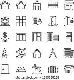 thin line vector icon set - house vector, box of bricks, window, frame, ntrance door, interroom, buildings, city block, tile, ceramic tiles, hedge, paving slab, home, tower crane, Construction, exit