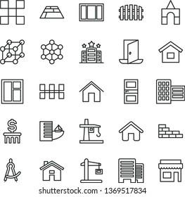 thin line vector icon set - house vector, box of bricks, dwelling, brick wall, window, frame, interroom door, buildings, city block, tile, ceramic tiles, fence, paving slab, home, tower crane, exit