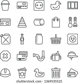 thin line vector icon set - bin vector, mark of injury, grocery basket, measuring cup for feeding, rubber duck, baby duckling, stacking toy, plastic fork spoons, window frame, bucket, sewerage, f