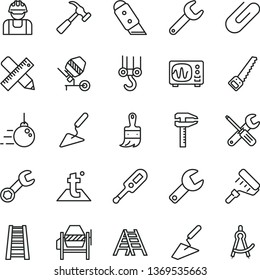 thin line vector icon set - repair key vector, electronic thermometer e, winch hook, big core, trowel, building, concrete mixer, small tools, arm saw, paint roller, wooden brush, stepladder, ladder