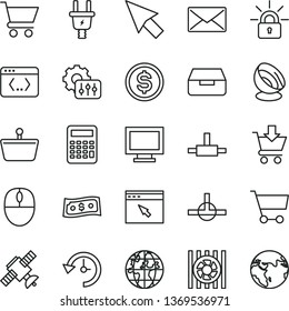 thin line vector icon set - monitor window vector, drawer, cart, put in, electric plug, shopping basket, planet, dollar, radiator fan, mouse, browser, connect, coding, mail, history, settings, earth