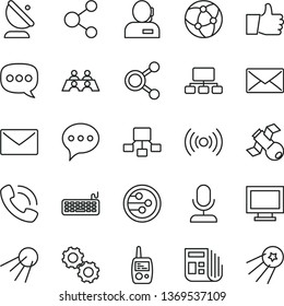 thin line vector icon set - monitor window vector, toy mobile phone, envelope, speech, thumb up, artificial satellite, antenna, connection, connections, scheme, hierarchical, dispatcher, call, mail