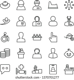 thin line vector icon set - woman vector, hat, potty chair, funny hairdo, workman, garden trolley, index finger, operator, coins, racer, court hearing, man, think, scientist, carrer stairway, flying