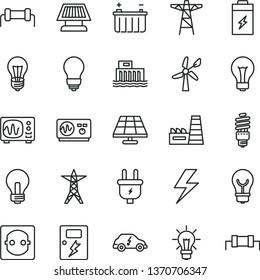 thin line vector icon set - lightning vector, matte light bulb, incandescent lamp, dangers, charging battery, solar panel, wind energy, hydroelectric station, power line, pole, plug, socket, saving