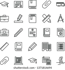 thin line vector icon set - clip vector, briefcase, graphite pencil, yardstick, book, new abacus, e, portfolio, buildings, writing accessories, drawing, calculation, scribed compasses, graduate hat