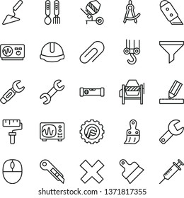 thin line vector icon set - paint roller vector, repair key, clip, cross, iron fork spoons, winch hook, building trowel, concrete mixer, plastic brush, construction level, drawing, helmet, star gear
