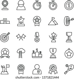 thin line vector icon set - stopwatch vector, pedestal, racer, award, cup, gold, star, reward, man with medal, flag, mountain, target, purpose, first place, pennant, ribbon, cross flags, tennis