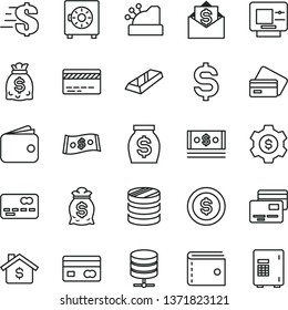 thin line vector icon set - bank card vector, purse, dollar, big data server, strongbox, cards, reverse side of a, front the, column coins, denomination, wallet, money, dollars, cash, cashbox, coin