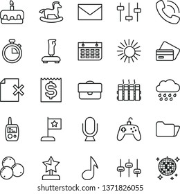 thin line vector icon set - envelope vector, stopwatch, rainy cloud, toy mobile phone, small rocking horse, radiator, microphone, delete page, torte, blueberries, portfolio, financial item, call