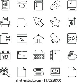thin line vector icon set - clip vector, add bookmark, clean sheet of paper, zoom, book, e, books, home, calendar, star, notebook, address, delete page, copy, statistical report, printer, browser