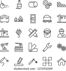 thin line vector icon set - crane vector, workman, brick wall, hook, gears, paint bucket, color samples, wooden brush, suitcase, interroom door, writing accessories, drawing, tile, core, tower, pipe
