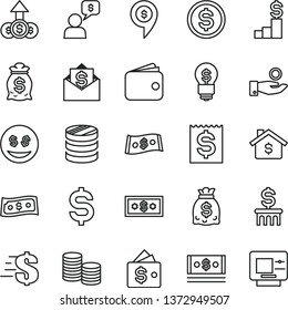 thin line vector icon set - dollar vector, coins, column of, denomination the, financial item, catch a coin, wallet, dollars, cash, mortgage, pedestal, money bag, idea, eyes, growth, mail, dialog