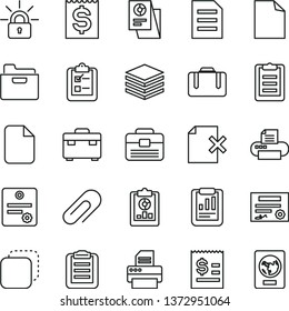 thin line vector icon set - clip vector, clean sheet of paper, portfolio, suitcase, pile, folder, delete page, survey, copy, statistical report, overview, article on the dollar, financial item, file