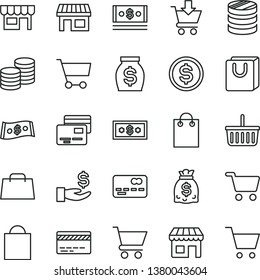 thin line vector icon set - paper bag vector, grocery basket, bank card, cart, put in, with handles, cards, kiosk, coins, stall, shopping, front of the, column, dollar, get a wage, money, dollars