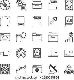 thin line vector icon set - folder vector, growth chart, estimate, CD, pass card, drawer, copy, book on statistics, radiator fan, hdd, usb flash, network, browser, coding, lan connector, sd
