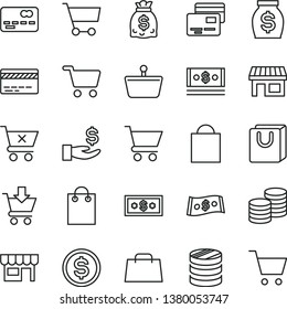 thin line vector icon set - paper bag vector, bank card, cart, put in, crossed, with handles, cards, kiosk, coins, stall, shopping, basket, front of the, column, dollar, get a wage, money, dollars