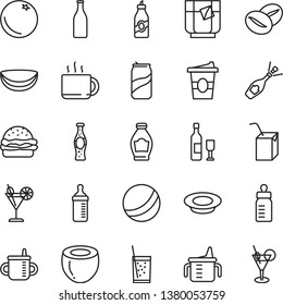 thin line vector icon set - mug for feeding vector, measuring cup, bottle, bath ball, packing of juice with a straw, burger, plate milk, coffee beans, tea, coffe to go, glass soda, cocktail, can