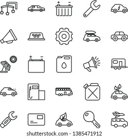 thin line vector icon set - truck lorry vector, horn, toys over the cot, motor vehicle, key, pass card, big solar panel, modern gas station, accumulator, battery, canister, of oil, eco car, electric