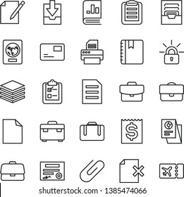 thin line vector icon set - clean sheet of paper vector, archive, download data, suitcase, notebook, pile, pass card, notes, delete page, survey, clip, portfolio, briefcase, financial item, printer
