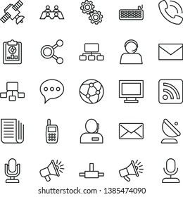 thin line vector icon set - desktop microphone vector, monitor window, envelope, rss feed, speech, satellite antenna, connections, statistical overview, scheme, hierarchical, loudspeaker, horn, mail