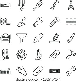 thin line vector icon set - repair key vector, clip, open pin, electronic thermometer e, iron fork spoons, winch hook, trowel, concrete mixer, adjustable wrench, arm saw, measuring tape, building