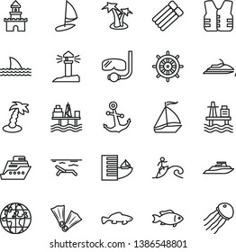 thin line vector icon set - anchor vector, small fish, sea port, commercial seaport, coastal lighthouse, planet, sand castle, sail boat, hotel, beach, palm tree, flippers, diving mask, surfing