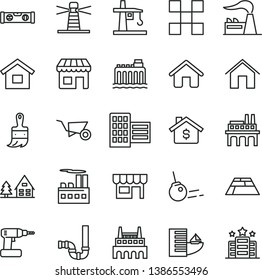thin line vector icon set - house vector, dwelling, building trolley, cordless drill, wooden paint brush, siphon, level, city block, tile, paving slab, core, home, kiosk, factory, hydroelectricity