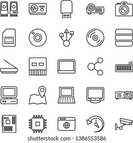 thin line vector icon set - camera vector, CD, SIM card, connection, computer, notebook pc, keyboard, motherboard, cpu, monitor, usb, scanner, flash, speaker, browser, projector, big data, history