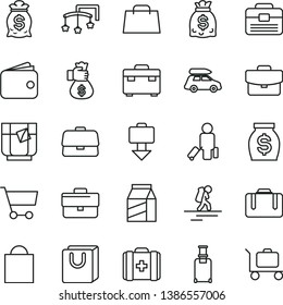thin line vector icon set - briefcase vector, paper bag, toys over the cot, medical, portfolio, suitcase, with handles, package, a glass of tea, cart, wallet, money, dollars, hand, car baggage