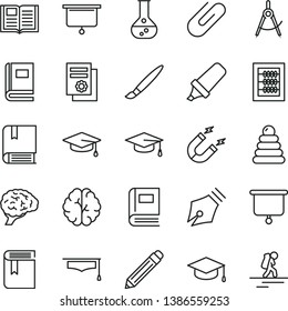 thin line vector icon set - tassel vector, graphite pencil, book, new abacus, stacking rings, e, square academic hat, clip, flask, magnet, scribed compasses, text highlighter, scientific publication
