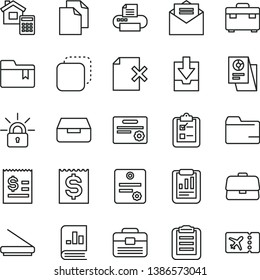 thin line vector icon set - clean paper vector, folder, download archive data, bookmark, portfolio, suitcase, estimate, received letter, drawer, delete page, survey, copy, briefcase, financial item
