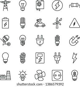 thin line vector icon set - matte light bulb vector, concrete mixer, saving, lightning, dangers, fan screw, charging battery, wind energy, power pole, plug, electric, socket, thermal plant, mercury