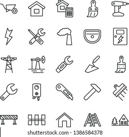 thin line vector icon set - repair key vector, dwelling, building trolley, trowel, small tools, drill, plastic brush, wooden paint, ladder, sink, ceramic tiles, estimate, spatula, lightning, dangers