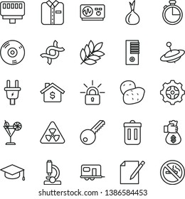 thin line vector icon set - yule vector, key, timer, notes, folded shirt, square academic hat, cocktail, onion, potato, electric plug, gear, pc tower, cd, trash bin, lan connector, encrypting, dna