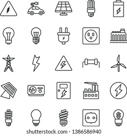 thin line vector icon set - danger of electricity vector, matte light bulb, saving, power socket type f, lightning, dangers, charging battery, solar panel, windmill, hydroelectricity, line, plug