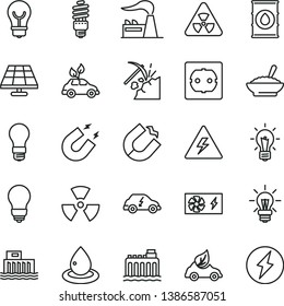 thin line vector icon set - danger of electricity vector, bulb, power socket type f, a bowl buckwheat porridge, solar panel, coal mining, factory, oil, light, hydroelectric station, hydroelectricity