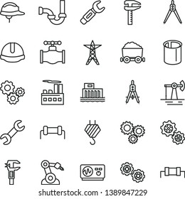 thin line vector icon set - hook vector, gears, sewerage, construction helmet, working oil derrick, valve, hydroelectric station, power line, industrial building, pipes, robot welder, calipers