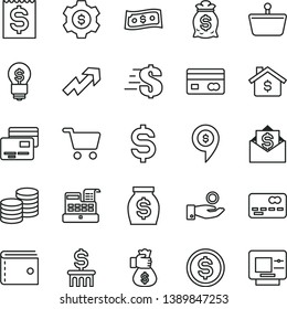 thin line vector icon set - purse vector, growth up, dollar, cards, coins, shopping cart, basket, reverse side of a bank card, front the, denomination, financial item, catch coin, money, bag hand