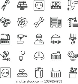 thin line vector icon set - tower crane vector, workman, winch hook, concrete mixer, adjustable wrench, cordless drill, power socket type f, buildings, construction helmet, plummet, solar panel