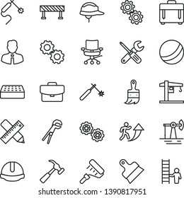 thin line vector icon set - bath ball vector, crane, gears, small tools, adjustable wrench, paint roller, wooden brush, writing accessories, construction helmet, brick, putty knife, road fence, case
