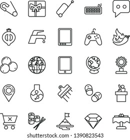thin line vector icon set - open pin vector, child shoes, spatula, faucet mixer, crossed cart, sushi set, half of medlar, blueberries, hot pepper, location, planet, giftbox, think, tablet pc, flask