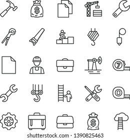 thin line vector icon set - repair key vector, clean sheet of paper, tower crane, builder, hook, winch, small tools, adjustable wrench, hand saw, measuring tape, long meashuring, plummet, case, gear
