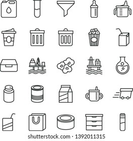 thin line vector icon set - bin vector, storage unit, mug for feeding, measuring cup, bottle, powder, e, packing of juice with a straw, dust, drawer, bag handles, package, canned goods, tin, popcorn