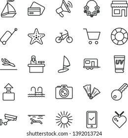 thin line vector icon set - camper vector, sail boat, bike, phone registration, rolling case, baggage, arrival, credit card, beach, sun, uv cream, hawaii wreath, pool, starfish, flippers, camera