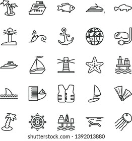 thin line vector icon set - anchor vector, small fish, sea port, commercial seaport, lighthouse, coastal, planet, sail boat, hotel, beach, palm tree, starfish, flippers, diving mask, surfing, yacht