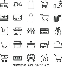 thin line vector icon set - paper bag vector, grocery basket, bank card, put in cart, crossed, with handles, cards, kiosk, coins, stall, shopping, front of the, column, get a wage, money, dollars